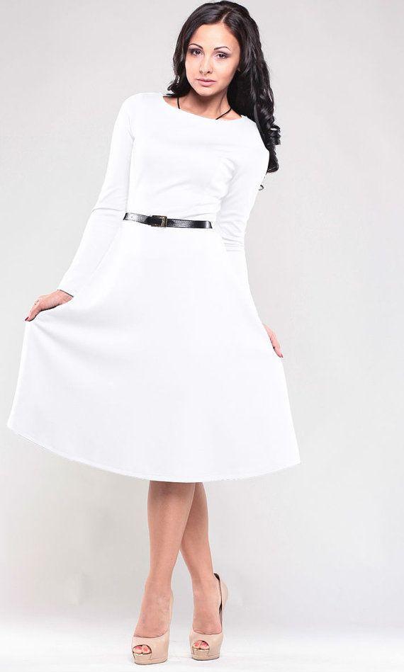 White dress. Jersey woman dress. Autumn White dress . Wedding dress. Flared skirt. Long sleeve dress.Elegant dress .Retro dress.