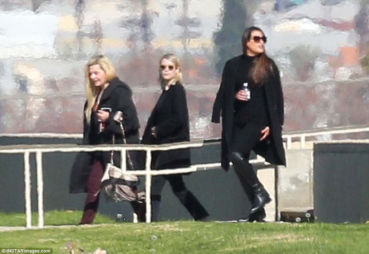 Supporting their friend: Billie's Scream Queens costars Abigail Breslin, Emma Roberts and Lea Michele pay their respects on Friday