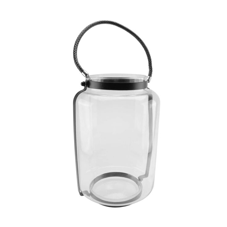 18 Clear Glass Hurricane Candle Holder Lantern with Jet Black Metal Frame