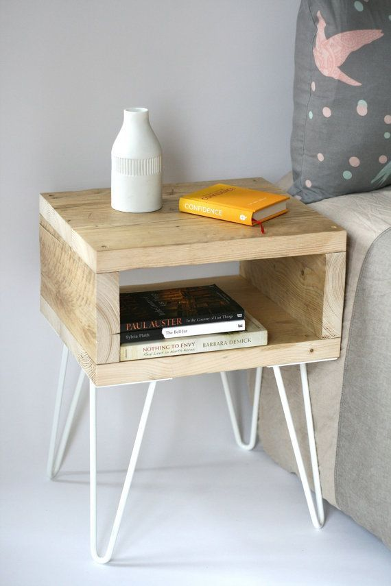 Blondie bedside table. Handmade side table made from reclaimed wood. Scandinavian look with mid-century modern style hairpin legs – #bedside #Blondie #hairpin #Handmade #legs #Midcentury #Modern #Reclaimed #recuperation #Scandinavian #Side #style #Table #Wood