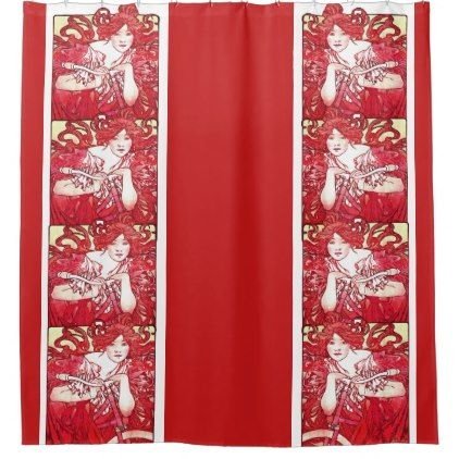 #Art Nouveau Mucha Lady Bicycle Red Shower Curtain - #cycling #gifts