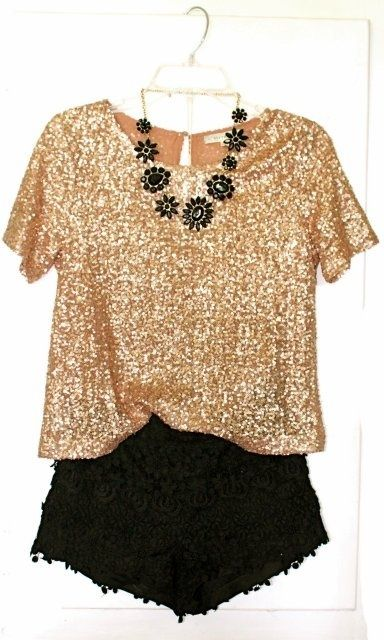 a cute, but comfortable night out!Gold Outfit, Black Shorts, Clothing, Gold Sequins, Black Laces, Glitter Top, Black Gold, New Years Eve, Lace Shorts