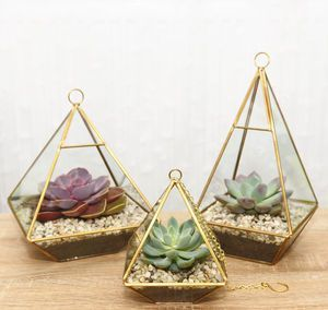 Geometric Diamond Glass Vase Succulent Terrarium - metal is officially the material of the moment in homeware and jewellery.