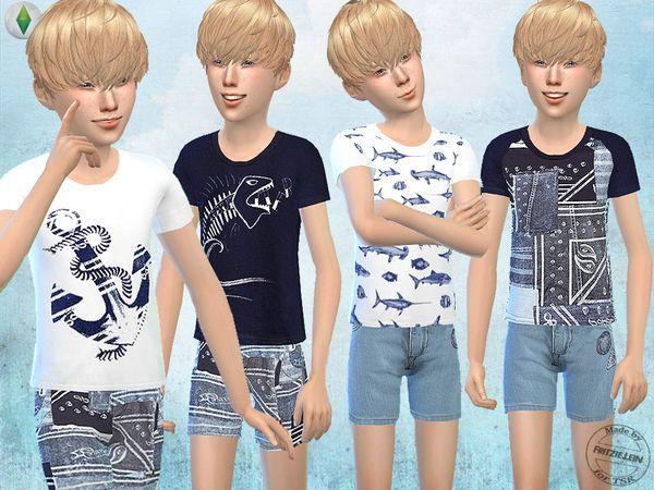 K – Fritzie.Lein's Sommer Shorts und T-Shirts für Jungen   – sims4