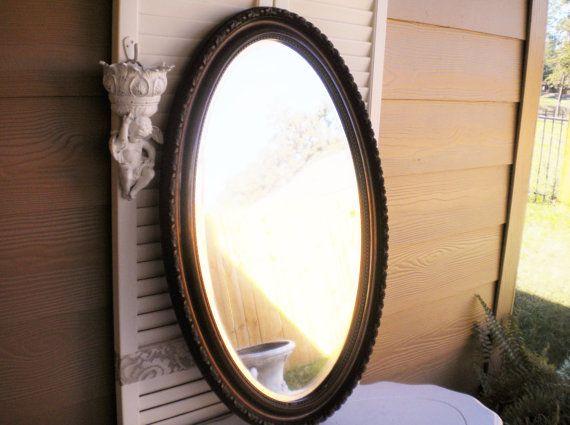 Vintage Antique Mirror Large Gorgeous Wooden Oval Mirror