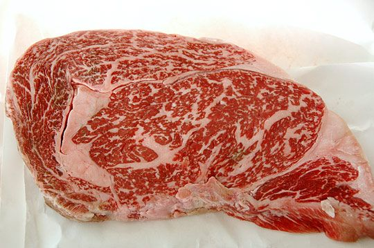 Kobe Beef - insane marbling. To actually eat it prepared right...
