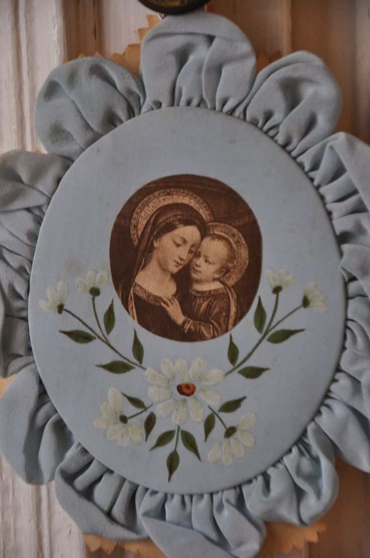 Antique French Ex Voto Virgin Mary Jesus Christ Reliquary Light Blue Hand…