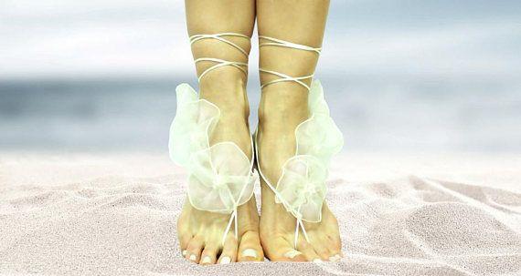 f3376ef3e9ecb Pure white spring flowers wedding barefoot sandal