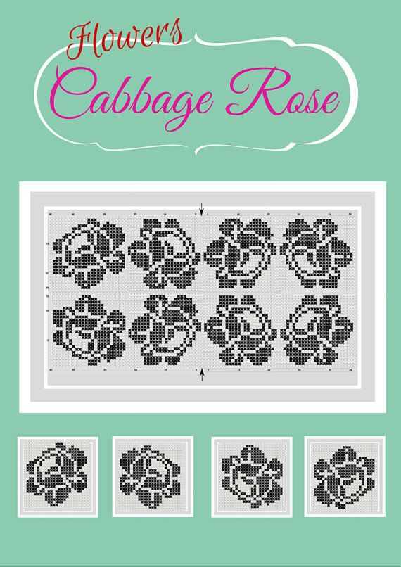 Rose cross stitch design cabbage rose ink on or by talkingwithnana