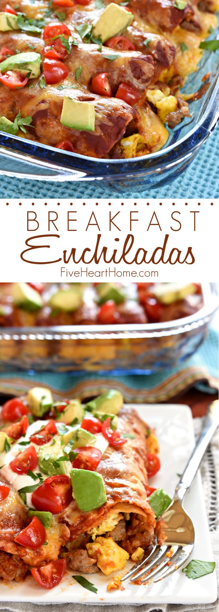 Breakfast Enchiladas ~ stuffed with sausage, eggs, and cheese, then topped with homemade red enchilada sauce, more cheese, and all of your favorite enchilada garnishes, these are even better than breakfast tacos! | FiveHeartHome.com