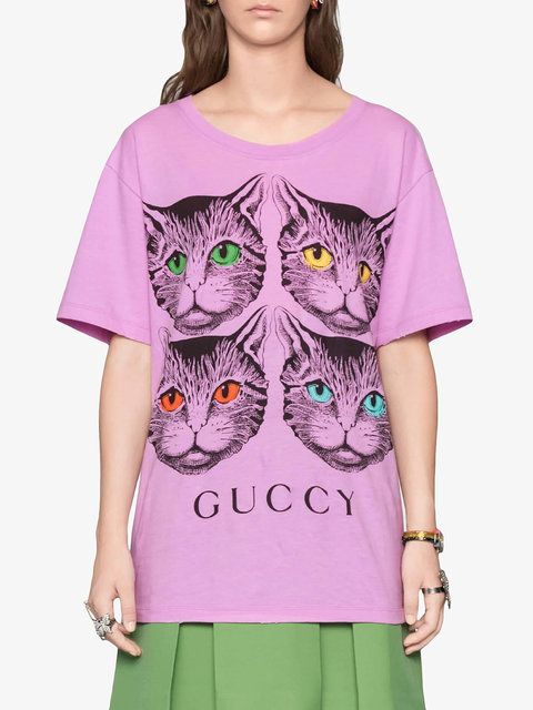 4038ef7d501001 Gucci Mystic Cat And Guccy Print T-shirt 620£ - Shop SS18 Online - Fast  Delivery, Price