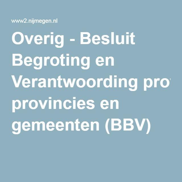 Overig - Besluit Begroting en Verantwoording provincies en gemeenten (BBV)