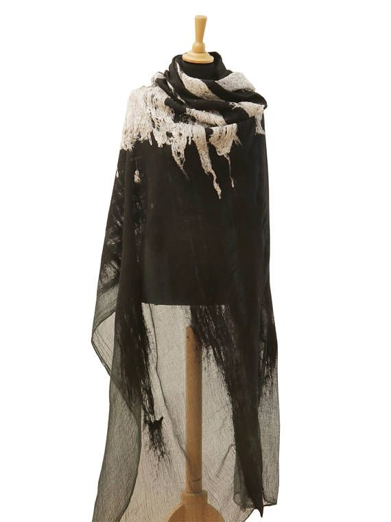d43c7ec13 Blanket scarf, Gift for woman, Raw silk scarf, Blanket wrap, Merino wool  scarf, Unique shawl, Felted scarf Black cape, Poncho women, Celtic cape, ...