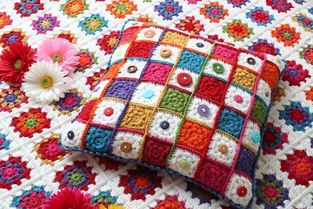 Granny Square Button Cushion ~ crochet inspiration. love this