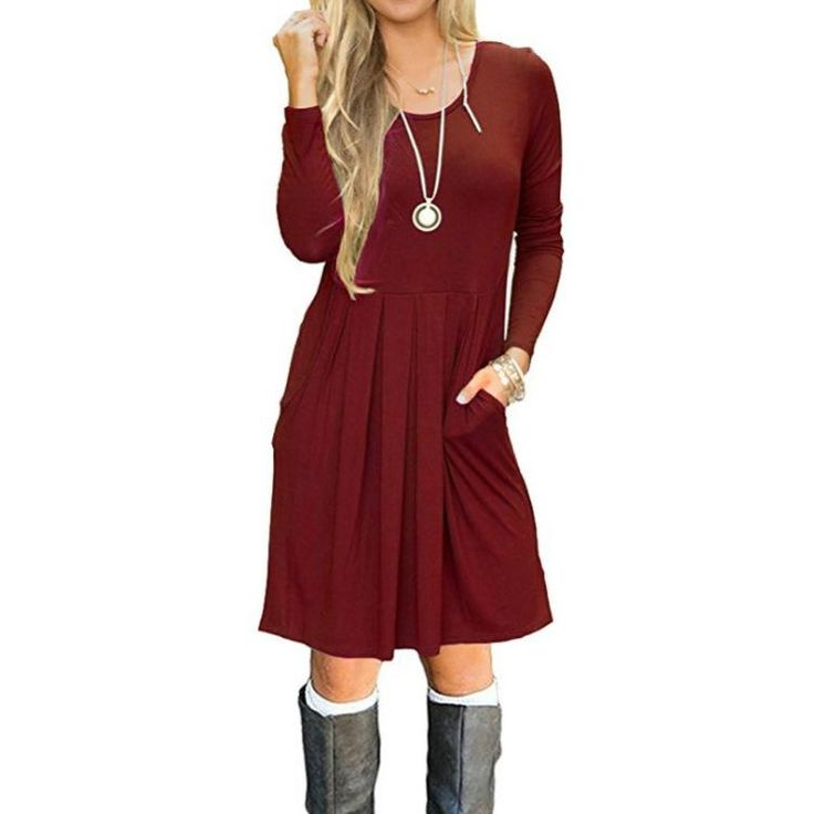 Womens Fashion Long Sleeve Solid Color Cotton Short Dress Long Tops for Leggings #abovekneedres #Cotton #Dress