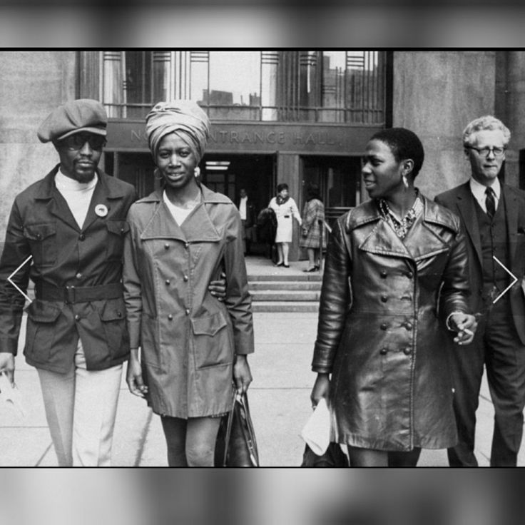 Richard Moore, Iris Moore and Afeni Shakur, 1970 Afeni Shakur acted as her own criminal defense attorney after being accussed of being involved in numerous bombings at busy city landmarks in 1969. Here, she pictured leaving the Ciminal Courts Buidling with fellow Black Panther member Richard Moore (left) and his wife Iris (center).