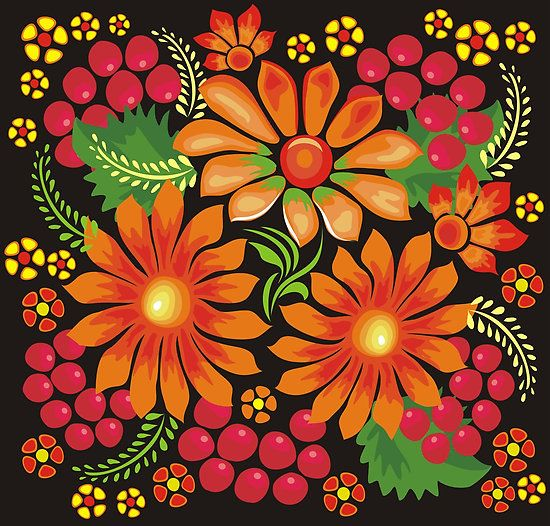 authentic Ukrainian folk art | ... Kucherenko › Portfolio › Flowers drawn in Ukrainian style