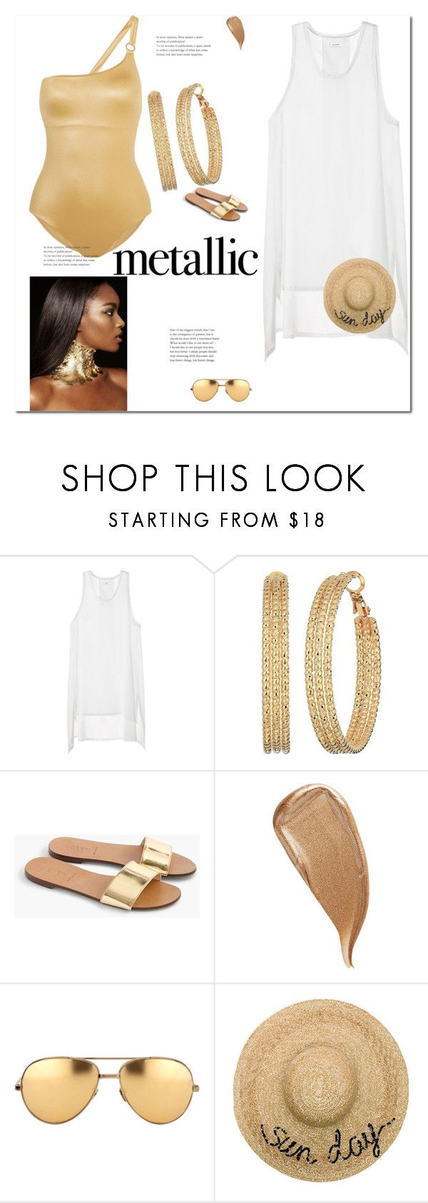 """""""Living My Life Like It's Golden"""" by bryleq4484 ❤ liked on Polyvore featuring GUESS, J.Crew, Kevyn Aucoin, Linda Farrow, Eugenia Kim, golden and metallicswimwear"""