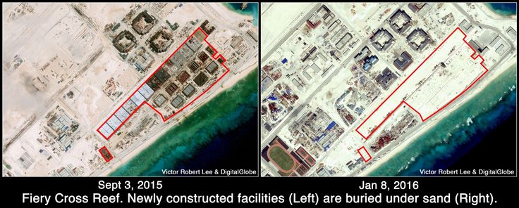 New installations at Fiery Cross Reef buried under sand. Article by Victor Robert Lee.