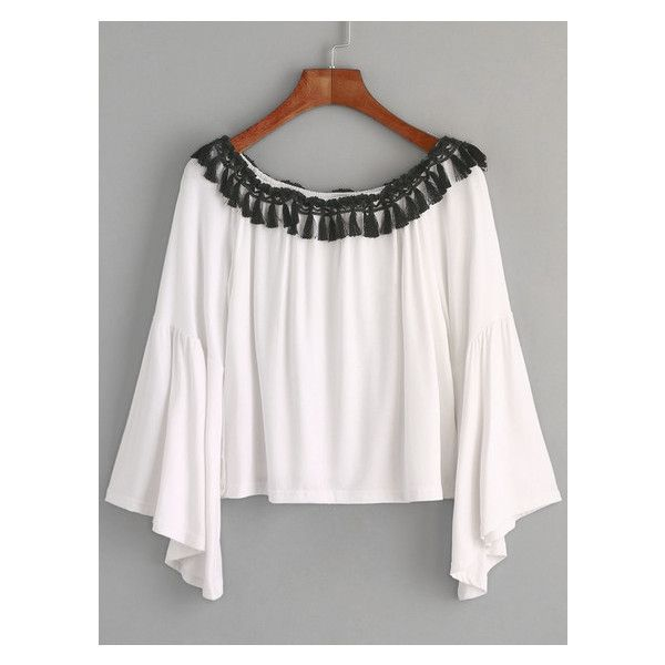 White Boat Neck Bell Sleeve Fringe T-shirt (21 BAM) ❤ liked on Polyvore featuring tops, t-shirts, white boat neck top, white bell sleeve top, boat neck tee, white t shirt and white top
