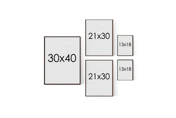 Tavelvägg mall med Postercollage för hall och små rum