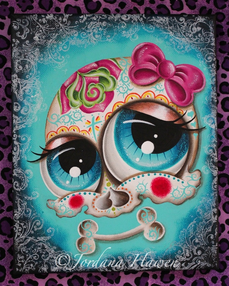 Sugar skull painting by Jordana Hawen. Private collection USA. SOLD. #sugarskull #dayofthedead #skull
