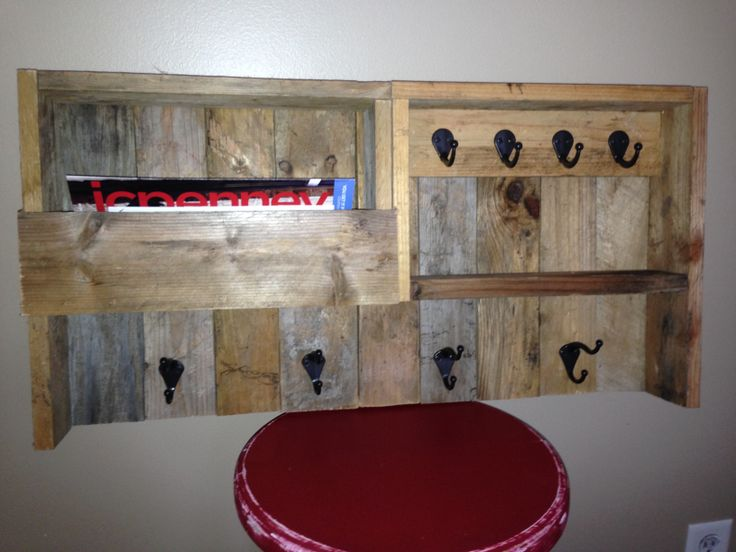 Pallet Coat Rack, Key Rack, Mail holder for our entry way.
