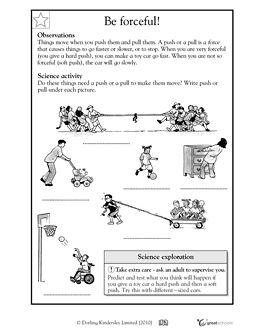push or pull science teaching science worksheets kindergarten science force motion. Black Bedroom Furniture Sets. Home Design Ideas