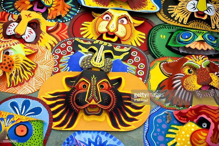 CHARUKOLA, DHAKA, DHAKA, BANGLADESH - : Dhaka University Art Institute student prepare masks for colorful preparation to celebrate upcoming Bengali New Year 1423 in Dhaka, Bangladesh, April 11, 2016. Pahela Baishakh (the first day of the Bangla month) can be followed back to its origins during the Mughal period when Emperor Akbar introduced the Bangla calendar to streamline tax collection while in the course of time it became part of Bengali culture and tradition.
