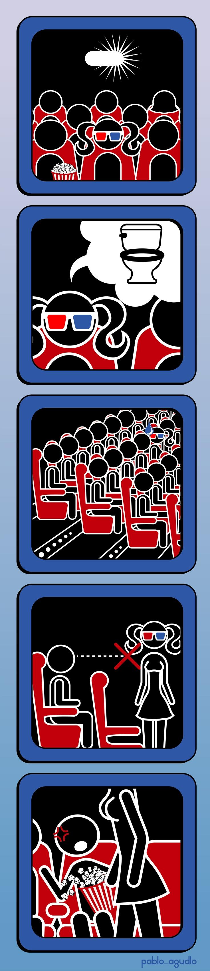 Señalética, problema ergonómico en algunas salas de cine.