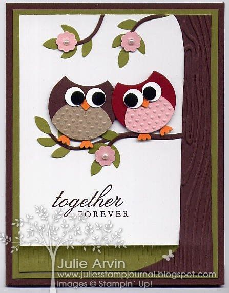 Owl Anniversary punch art card