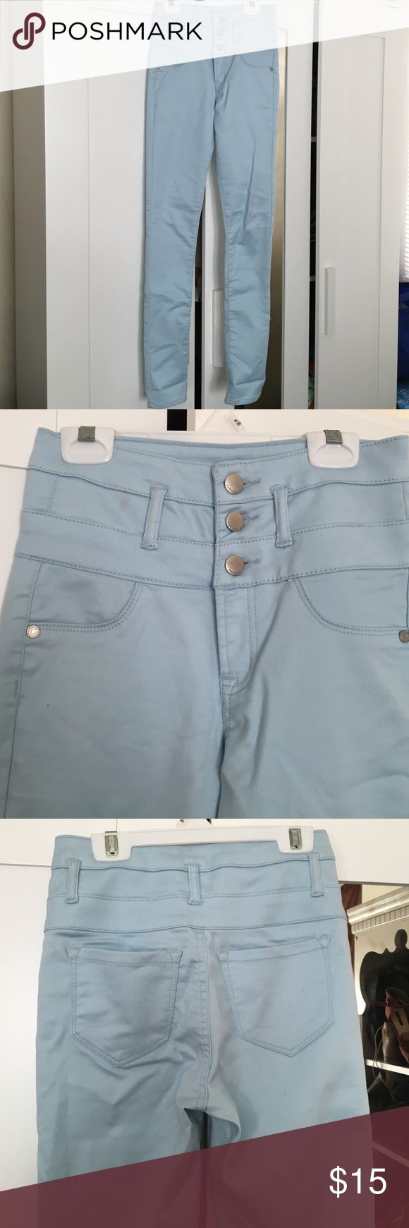Light blue high wasted pants Fun light blue high wasted skinny pants from Charlotte Russe! 60% cotton 38% polyester 2% spandex! Worn once for 2 hours, no wear or tears! Slimming look! Charlotte Russe Pants Skinny