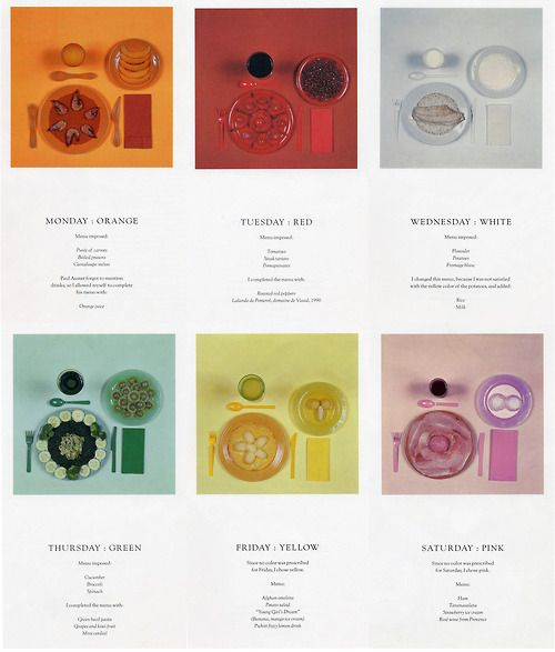 """""""The Chromatic Diet"""" an artistic creation of the writer Paul Auster (b. 1947) and artist Sophie Calle (b. 1953)"""