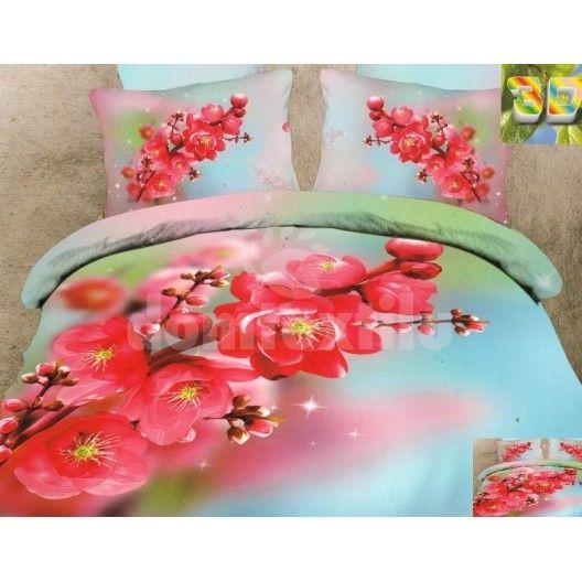Bavlnená súprava obliečok modro zelenej farby s červenými kvetmi