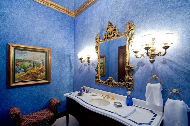 Guest bathroom in blue.  http://costaricamilliondollarhomes.com/Casa-Italian-Style-Residence/index.html
