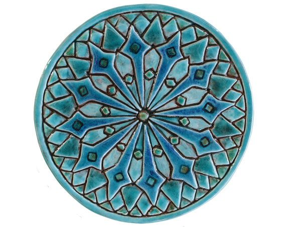 Moroccan wall decoration made from ceramic - outdoor wall art - ceramic tile - Moroccan 21cm - turquoise