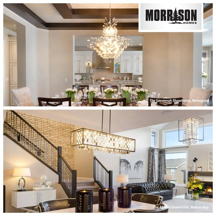 Chandeliers offer a warm ambience to any dining room. Here we feature an elegant, floral design and a sleek, contemporary look. Which do you prefer?