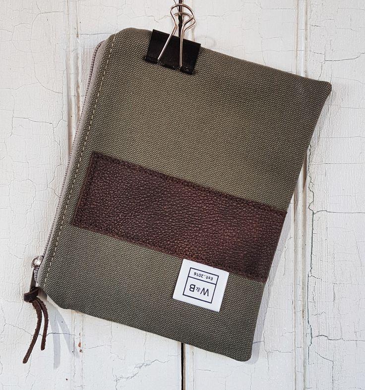 Zipper pouch - medium - Olive and Dark Brown - W & B