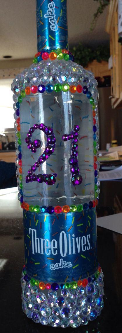 Bedazzled Liquor Bottle for 21st Birthday