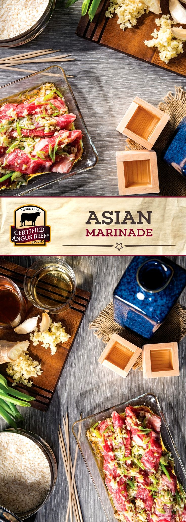 Certified Angus Beef®️️ brand Asian Marinade includes garlic, ginger, sake, and other bold ingredients for a DELICIOUS depth of flavor! Marinate your favorite cut overnight for a beef dinner you'll want to have again. #bestangusbeef #certifiedangusbeef #marinade #seasoning