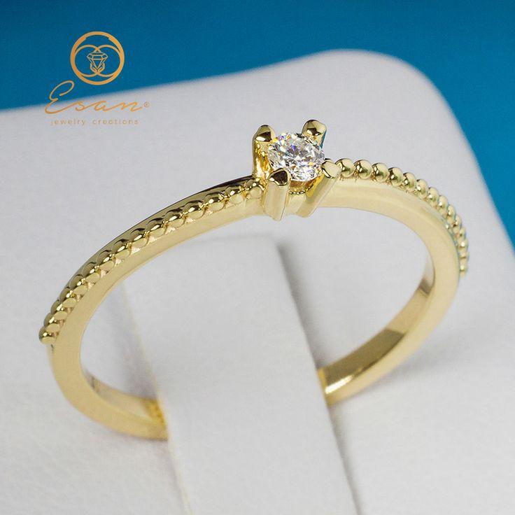 Inel de logodna din aur galben cu diamant ES38