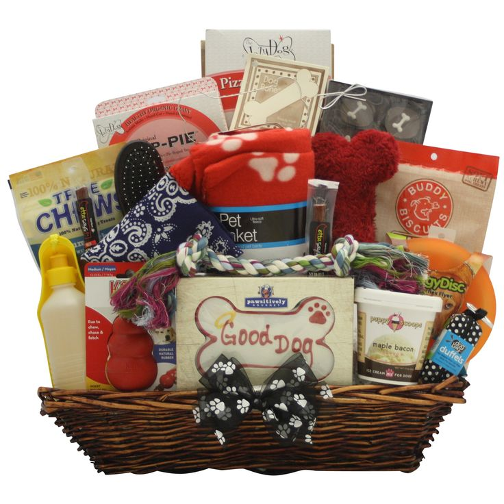 Show your dog your love and affection with gifts from this Ultimate Doggie Gift basket. From tasty treats to plush toys, this basket includes several items that your dog can enjoy. Ideal for pampering