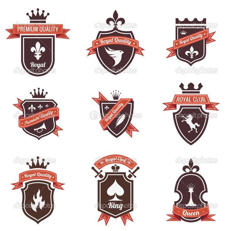 Винтаж набор наклеек. Разместите свой логотип на щите. Copyspace. Щит с лентой и Корона. Герб. Ретро-дизайн. Высокое качество — стоковая иллюстрация #26500339