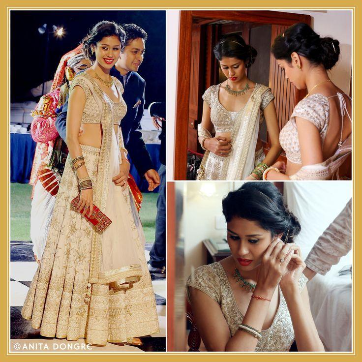 To be bride Zunu Mittal looks splendid in an Anita Dongre lehenga for her pre-wedding function.  To buy online - shop.anitadongre.com