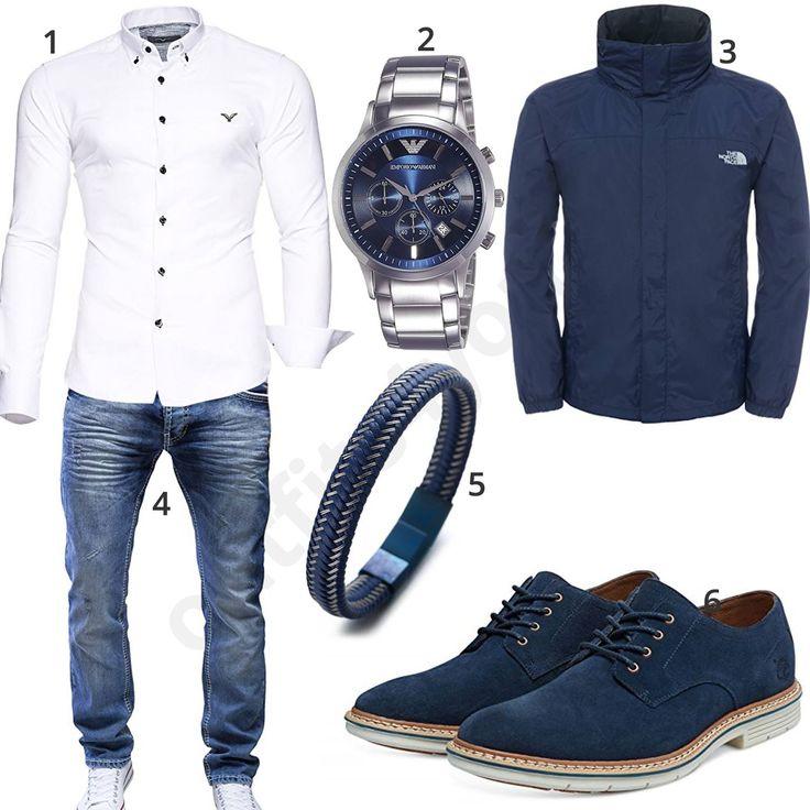 Blaues Herren-Outfit mit Armani Uhr und Lederarmband – Chris