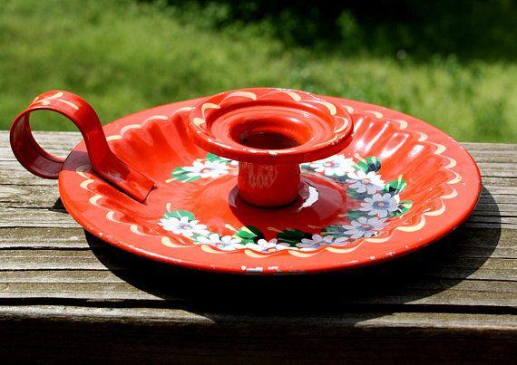 Smalto rosso francese vintage arte popolare Chamberstick