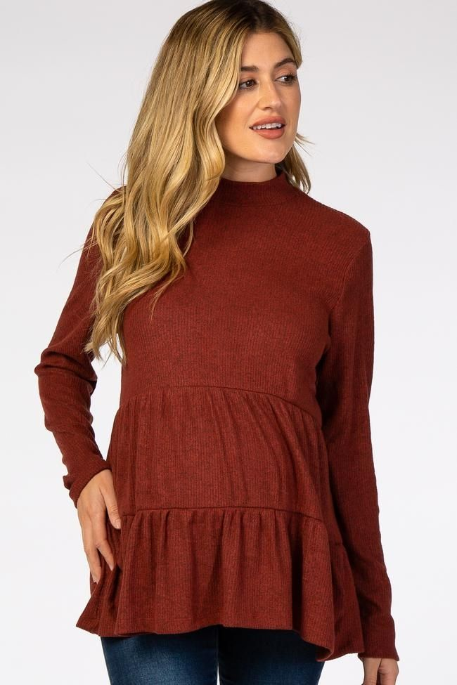 Womens Knit Ribbed Maternity Top with Mock Neck Long Sleeve