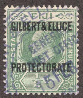"""Gilbert & Ellice Islands  1911 Scott 1 1/2p green """"Gilbert & Ellice Protectorate"""" Overprinted stamps of Fiji  Note """"General Post Office Ellice"""" postmark"""