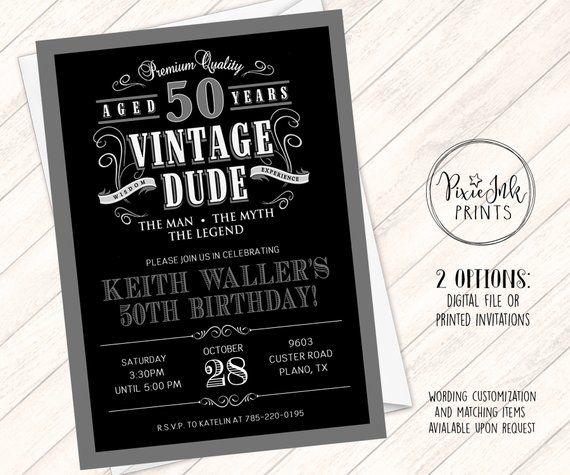 Vintage Dude Invitation 40th 48 Case 60th Birthday Invitations 40th Birthday Party Supplies 60th Birthday Party Invitations