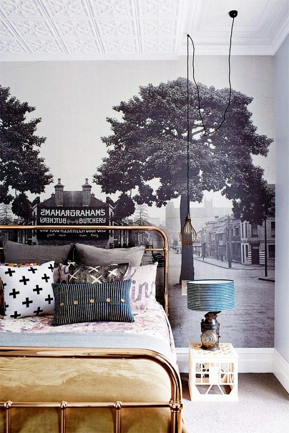 Trend Alert: Panoramic Murals // Bedroom With Mural Wallpaper and Brass Bed Frame